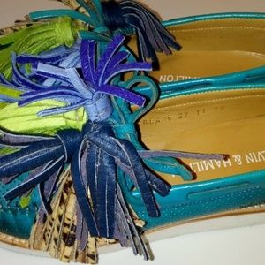 MELVIN & HAMILTON moccasins slippers teal US 6.5